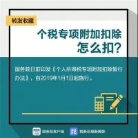 1月1日起,个税专项附加扣除怎么扣